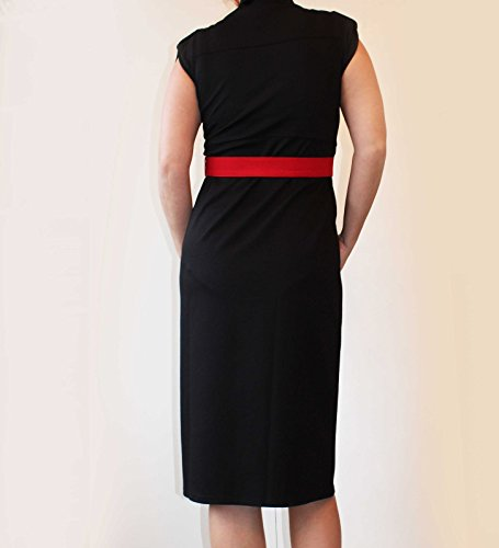 Mia maternity Damen Kleid schwarz black/red belt Small (S)