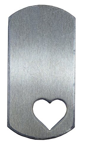 RMP Stamping Blanks, 1 Inch x 2 Inch Dogtag with Lower Lefthand 1/2 Inch Heart, Aluminum .063 Inch (14 Gauge) - 50 Pack
