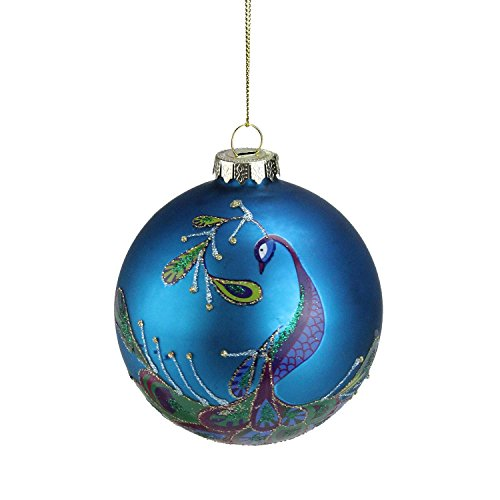 Northlight Regal Peacock Blue Glittered Glass Ball Christmas Ornament, 4