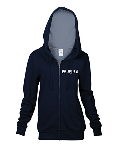 NFL New England Patriots Women's Full Zip Fleece Hoodie with Pouch Pocket, Navy, Large