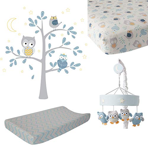 Lambs & Ivy Night Owl by Dena Blue/Gray 4-Piece Crib Bedding & Decor Set