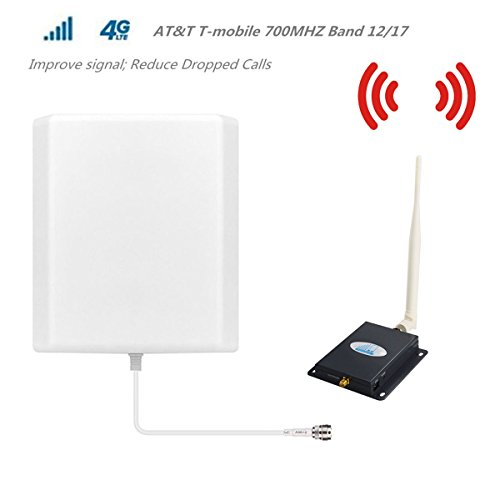 AT&T T-Mobile Cell Phone Signal Booster 4G Lte Cell Signal Booster HJCINTL 700MHz Band 12/17 Home Mobile Phone Signal Booster Amplifier (Signal Amplifier Cell Phone)