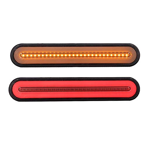 Volwco 100 LED Light Bar-9 Inch Red/Amber Dual Color Truck Trailer Brake Light,10-30V Waterproof Turn Signal Bulb Sequential Flowing Signal Light(2 Pcs)
