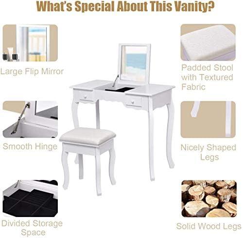 home, kitchen, furniture, bedroom furniture,  vanities, vanity benches 12 on sale Giantex Vanity Set with Flip Top Mirror and deals