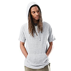 Rebel Canyon Young Men's Short Sleeve Pullover Hoodie Sweatshirt Top Small Light Grey Marl