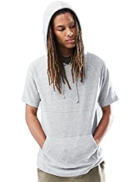 Young Men's Short Sleeve Pullover Hoodie Sweatshirt Top
