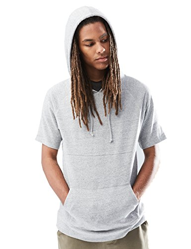 Rebel Canyon Young Men's Short Sleeve Pullover Hoodie Sweatshirt Top Large Light Grey Marl ()