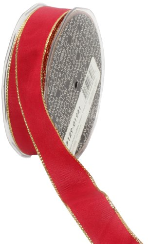 Ampelco Ribbon Company Gold Wired 27-Yard Taffeta Ribbon, 1-Inch, Scarlet Red