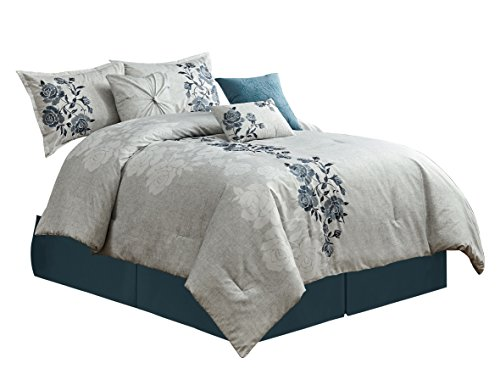 om Flora 7-Piece Bold Blue Floral Embroidered Pattern Bedding Comforter Set (Queen) ()