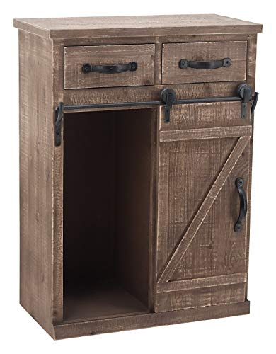 Sliding Barn Door Accent Wood Storage Cabinet, Farmhouse Style Wood End Table with 2 Drawers and 1 Cabinet, Vintage…