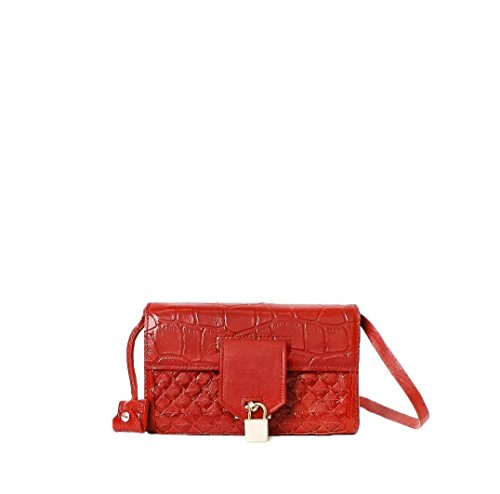 (DOMINICA crocs italian red leather cross-body wallet-style clutch handbag with innovative woven design)