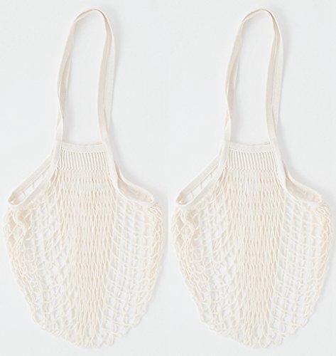 Cotton Reusable Grocery Bags - Net Bag String Shopping Bag Produce Bags Beach Bags Mesh Bags Foldable Tote Set of 2 Long (Eco Green Reusable Shopper)
