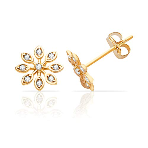 Real 14K Yellow Gold Tear Drop Flower Push Back CZ Stud Earring for Women and Girls