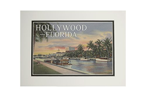 (Hollywood, Florida - Boats and Canal - Vintage Postcard (11x14 Double-Matted Art Print, Wall Decor Ready to Frame) )