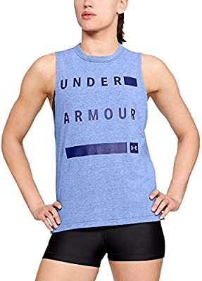 Under Armour Linear Wordmark Womens Training Vest Grey Gym Workout Tank Top