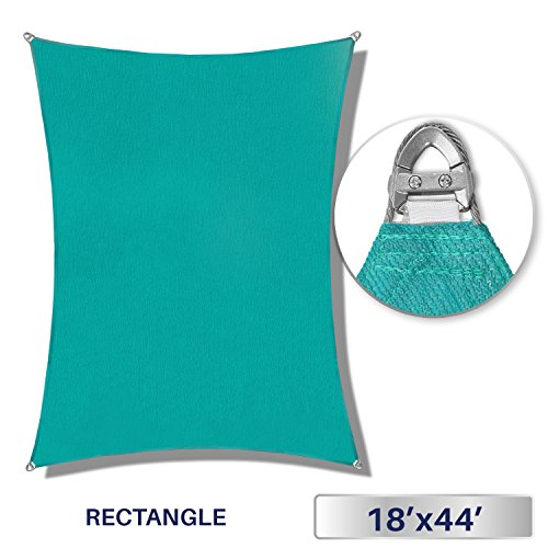 Windscreen4less A-Ring Reinforcement Large Sun Shade Sail 18' x 44' Rectangle Super Heavy Duty Strengthen Durable(260GSM)-Galvanized Cable Enhanced-Turquoise Green / 7 Year Warranty ()