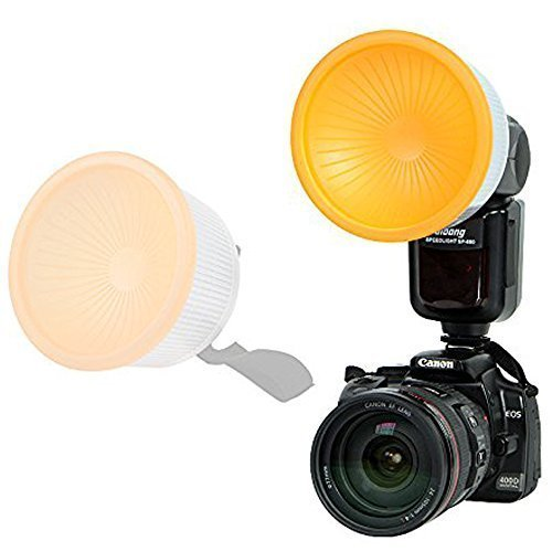 Inseesi Universal Lambency Flash Diffuser Set for Canon Nikon Sony and Other Speedlites (Includes White, Orange,)