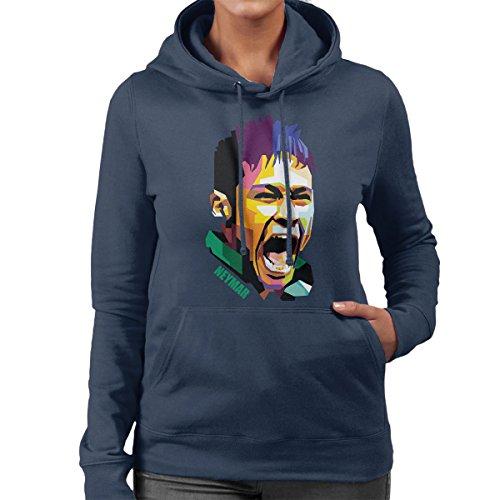 Geometric Celebrity Neymar Women's Hooded Sweatshirt Navy blue