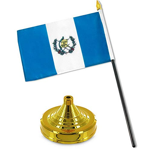 Mikash Guatemala 4x6 Flag Desk Set Table Stick Gold Base | Model FLG - 2105