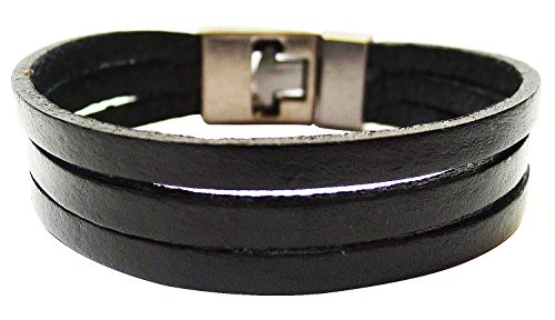 Bijoux De Ja 3 Plain Strip Leather Wristband Wrap Bracelet Size 8.0 Inches - London Tiffany Store