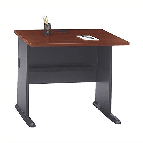 Bush Business Furniture Series A 36W Desk in Hansen Cherry and Galaxy Bush Cherry Modular Desk
