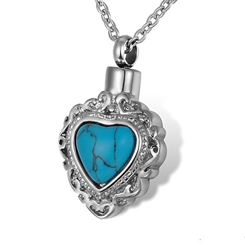 HOUSWEETY Turquoise Necklace Urn Pendant Stainless Non engraving