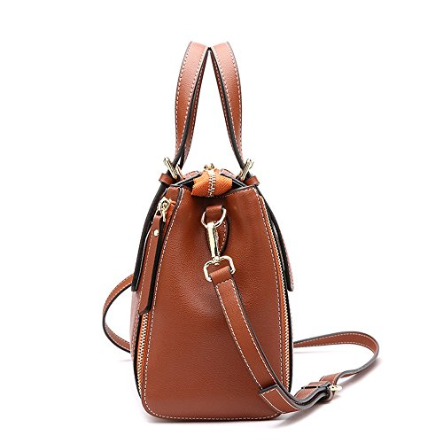 Bag Zip Sunbobo Messenger Retro Shoulder Boston Simple Bag Leather Brown Bag around qF1FRO8n