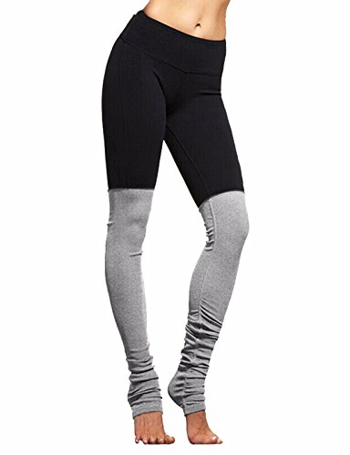Fittoo Yoga Pants Goddess Legging Double Candy Color Block Stretch Tight Sport Active Yoga Leggings Black&Grey(M) (Color Block Tights)