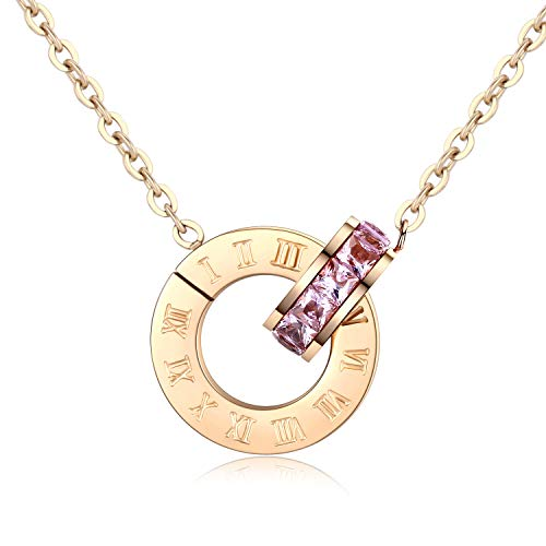 Dorostine Roman Numeral Necklace for Women, Interlocking Circles Infinity Necklace, Rose Gold Plated Stainless Steel Pendant Necklace 17.5