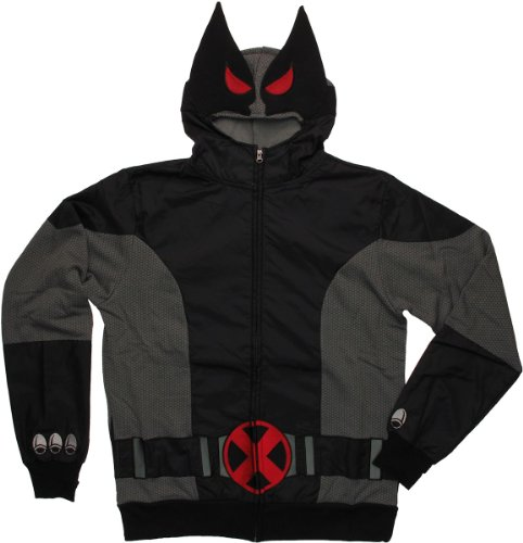 Marvel Men's Gray Wolf Hooded Costume Fleece, Black/Grey, Medium - Wolverine Black Costumes