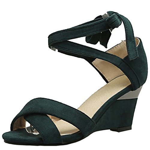 COOLCEPT Mujer Simple Cordones Peep Toe Tacon de Cuna Sandalias Verde
