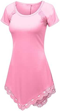 TAORE Plus Size Summer Women Cotton Blend Crew Neck Lace Short Sleeve Casual T-Shirt Blouse Tank Tops, XS~4XL