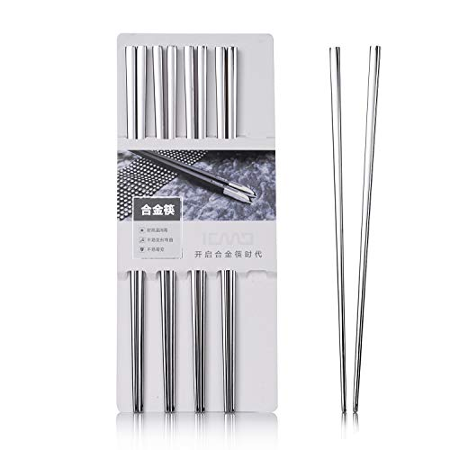 - Stainless Steel Chopsticks Quality Metal Chopsticks Luxury Square Stainless Steel Hotel Restaurant Chopsticks 5 Pairs Gift Set (stainless steel)