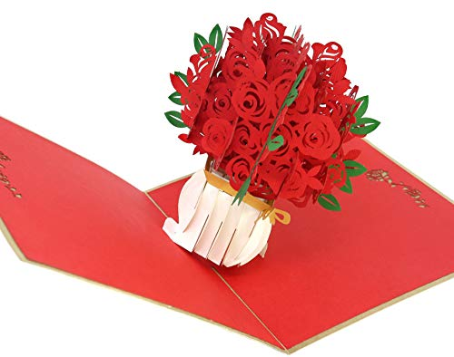 (PopLife Red Rose Bouquet 3D Pop Up Mothers Day Card - Anniversary Pop Up Valentines Day, Happy Birthday, I'm Sorry - Gift for Her - Folds Flat for Mailing - for Mother, for Daughter, for Wife, for Mom)