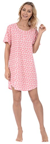 (Pink Lady Women's Nightshirt Short Sleeve Loungewear PJ Print (Pink Butterflies X-Large))