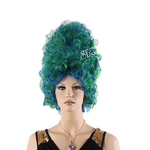 Beehive Blue Wig (STfantasy Beehive Wig Curl Kinky Long Large Cosplay Costume Party Hair +Cap(21