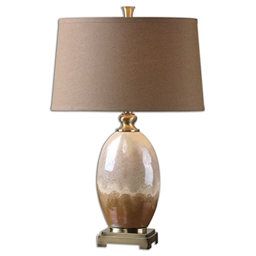 (Earth Tones Elegant Ceramic Table Lamp | Brown Ivory Pottery)