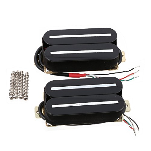 LYWS Electric Guitar Humbucker Pickup Set Neck & Bridge Ceramic Magnet Black H011