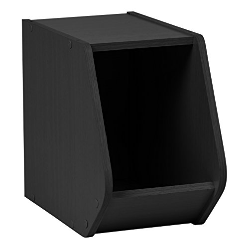 Modular Dvd (IRIS TACHI Narrow Modular Wood Stacking Open Storage Box, Black)