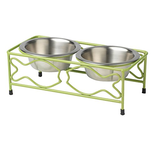 PetRageous 1 Cup Cancun Cat Diner Green Powder Coated with Brushed Stainless Steel Bowls