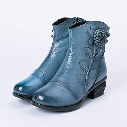 Otoño Hechas Invierno Blue De E Mujer Nacionales Mano Botas Cómodas Con A WqYBxwEwZ