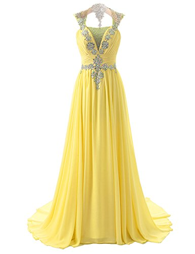 Cdress Long Dress Party Crystal Prom Dresses Formal Maxi Backless Beaded Chiffon Gowns Yellow Evening x1rEF1