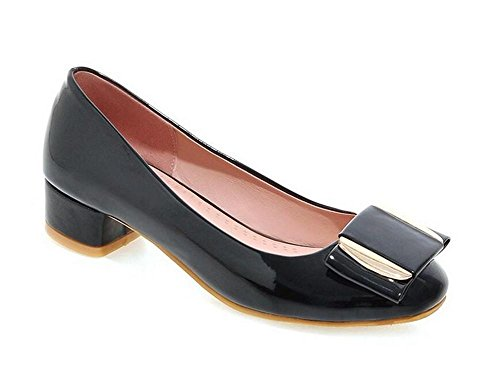 XIE Zapatos de Metal Corte Redondo Dedo del pie Grueso con Zapatos de Tacón bajo Solo, 36 BLACK-36