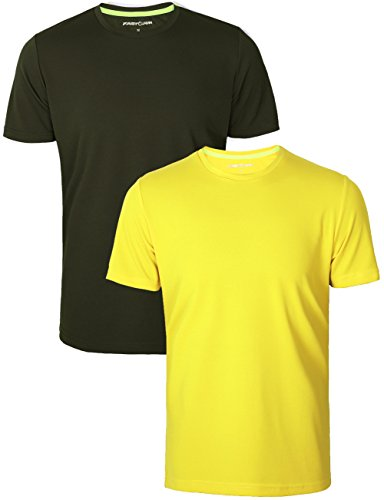 2 Sports Yellow T-shirt (Fastorm Men's 2-Pack Athletic T Shirt Quick Dry Tagless Moisture Wick Sport Tee Yellow-Army Green 2XL)