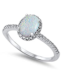 CHOOSE YOUR COLOR Sterling Silver Oval Halo Ring