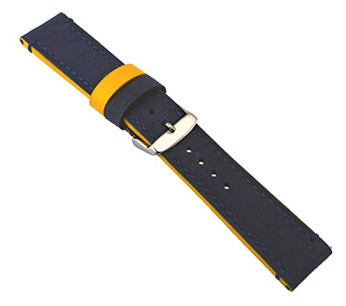 Rev-Genuine-Crazy-Horse-Dual-Color-Leather-Watch-Replacement-Band-Navy-BlueMustard-Yellow-18mm-20mm-22mm-or-24mm