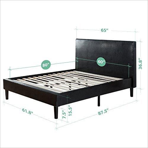 Zinus Deluxe Faux Leather Upholstered Platform Bed with Wooden Slats, Queen by Zinus (Image #4)