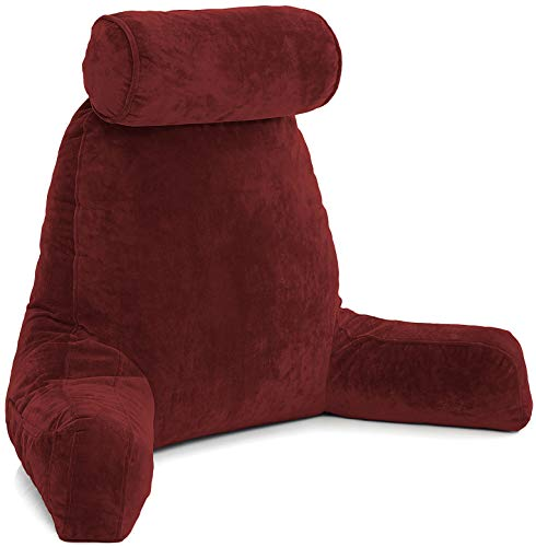Husband Pillow - Maroon, Big Reading & Bed Rest Pillow w/Arms - Sitting Up Tall, Premium Shredded Memory Foam, Detachable Neck Roll on Bungee, Removable Covers & Zipper Shell for Adjustable Loft ()