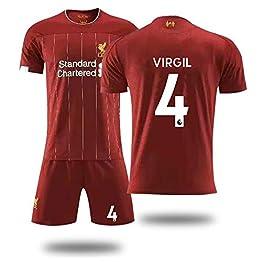 YSYSW Liverpool F.C.-Virgil Van Dijk 4 -Football Uniforme T-Shirt Ensembles de Sport Survêtement de Football Garçon,Maillot de Football