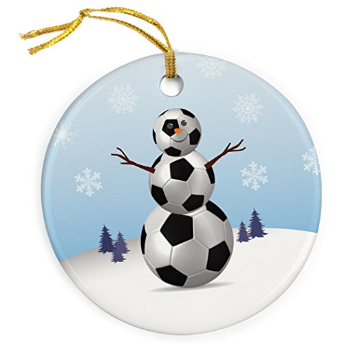 ChalkTalkSPORTS Soccer Porcelain Ornament | Snowman Christmas Ornament ()